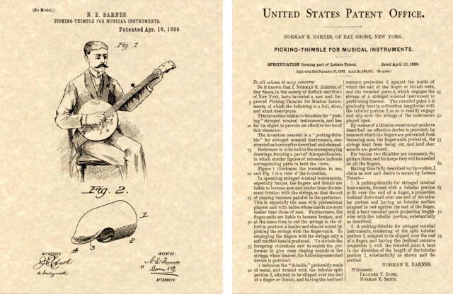 Ukulele Uke Thimble cool 1889 BANJO PICK PATENT Art Print READY TO FRAME!!