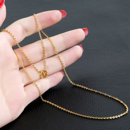 """Pure Solid 24k Yellow Gold Necklace Women Men Lucky O Link Chain 16-20/""""L"""