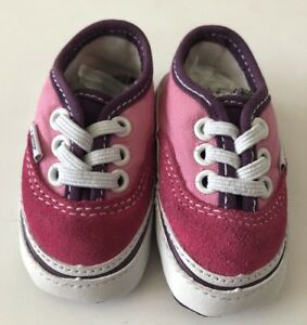 f10945b94ab Pink Baby Crib Vans Pram Shoes Trainers Size 1 Newborn Slip On Suede ...