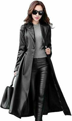 Womens Genuine Lambskin Leather Long Overcoat Trench Coat Button Black Jacket
