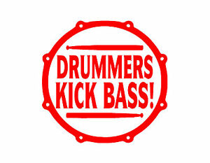 Doux Batteurs Kick Bass Autocollant Vinyle 5x5 Tambour Rouge Set Cymbales Percussion Batterie Beats-afficher Le Titre D'origine