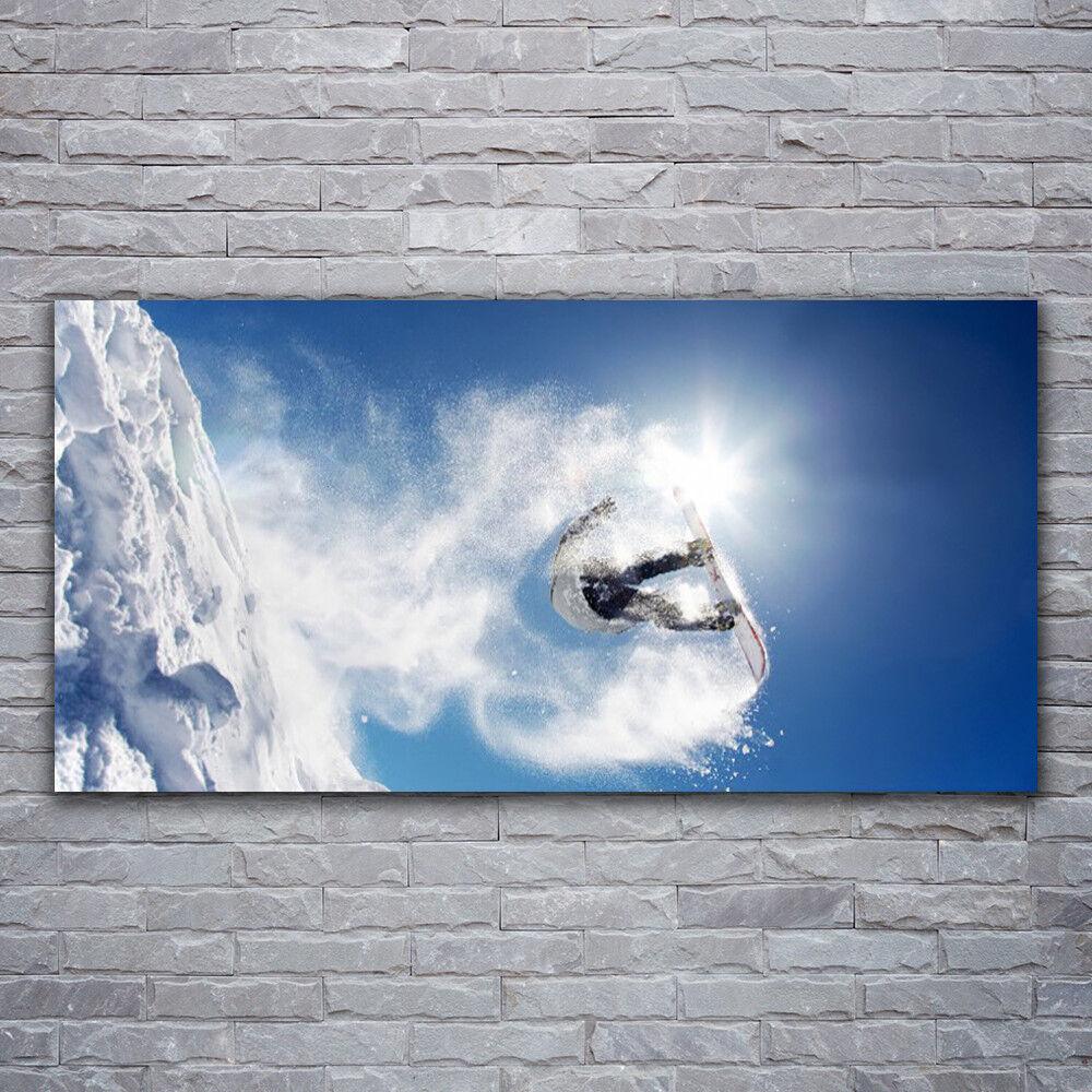 Wandbilder Glasbilder Druck auf Glas 120x60 Wintersport Schnee Kunst
