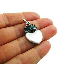 Coronation Heart 925 Sterling Taxco Silver Drop Pendant
