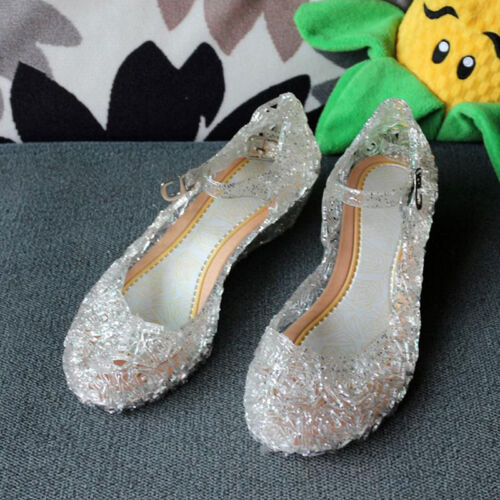 Kids Girls Crystal Jelly Sandals Princess Frozen Elsa Cosplay Party Shoes Size