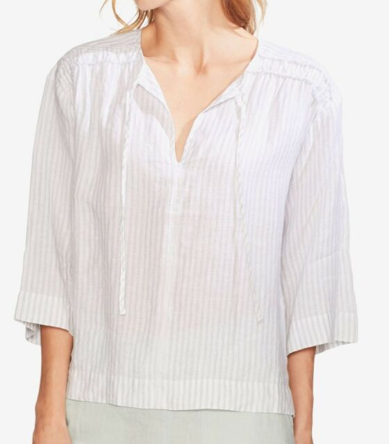 Vince Camuto Women's Blouse White Size XL Stripe Tie Neck Linen $99 #580