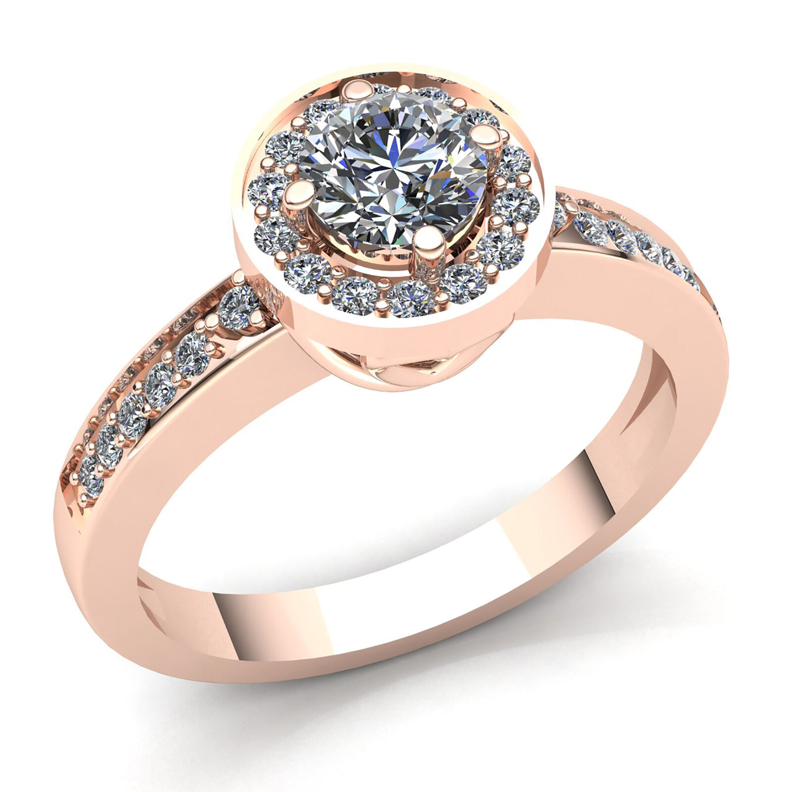 Natural 0.33ct Round Cut Diamond Ladies Proposal Heart Engagement Ring 18K gold