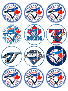 Edible  Cupcake Toppers  FREE SHIPPING in Canada BLUE JAYS LOGOS