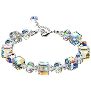 Aurora-Borealis-Bracelet-with-Crystals-18K-White-Gold-Jewelry-Adjustable-7-034-9-034