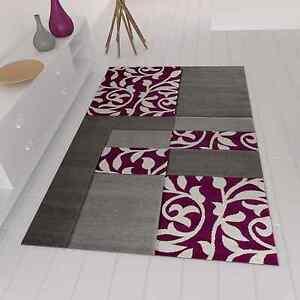 Détails sur Moderne Design Tapis avec Motif de Fleurs à Carreaux Gris  Violet Neuf