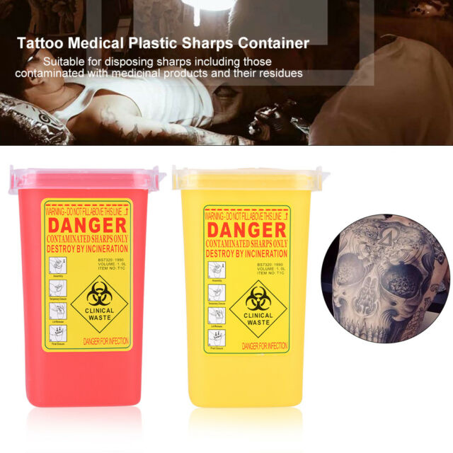 2 Colors 1L Sharps Container Biohazard Disposal Needle Disposal Waste Box JS
