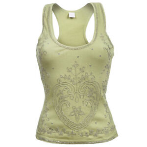 Yellow-Pistachio-Green-Floral-Heart-Cotton-Shiny-Vest-Sleeveless-Top-8-10-12-14