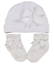 Baby Girls Sparkle Bow Hat And Sock in Pink or White Gift Set