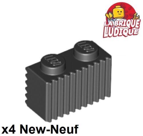 4x Brique Brick modified 1x2 Grille Grill noir//black 2877 NEUF Lego