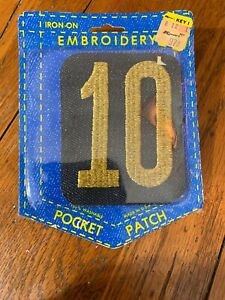 Vintage-Denim-Jean-Jacket-Repair-Iron-On-Patch-NOS-10-Ten-Number-Year-Date-Month