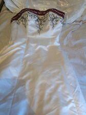 Vestido de novia Gino Cerruti boda formal Vestido// Blanco/Burdeos con chal XL 14