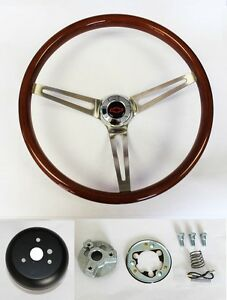 64-1966-Impala-Bel-Air-Wood-Steering-Wheel-Tilt-15-034-Red-Blk-cap-high-gloss-grip