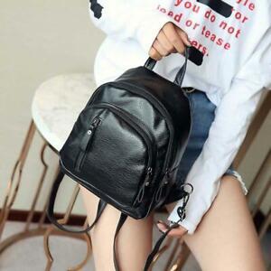 Leather-School-Backpack-Women-Ladies-Small-Travel-Shoulder-Bag-Rucksack-Black