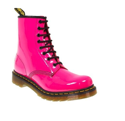 Dr. Martens1460 W HOT PINK Patent Lamper 8 Eye Boots Womens Trend RARE