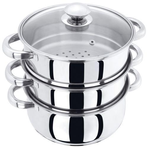 Acier Inoxydable Multi légumes Steamer Autocuiseur Pot Pan Set avec couvercle Neuf 3 niveau 22 cm