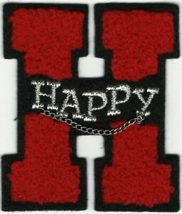 """2 1/2"""" Red Happy Letter H Chenille Varsity Patch"""