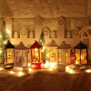 Christmas-Santa-Claus-Snowman-Deer-Flame-Lights-Lamp-Hanging-Lantern-Ornament