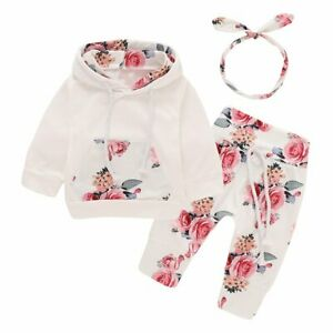 3PCS-Newborn-Kids-Baby-Girl-Clothes-Hooded-Sweater-Tops-Floral-Pants-Outfits-Set