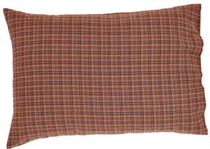 Rustic Plaid Country Pillowcase Set of 2 Burgundy Natural Tan Navy Cotton Parker