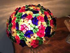 Antique Vintage Czech Czechoslovakia Colorful Art Glass Beaded Flower Lamp Shade