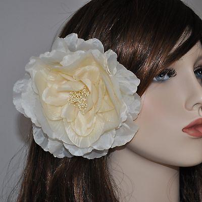Fascinator Capelli CORONA Pettine Capelli Matrimonio Gioielli ansteckblume Fiore Bianco Ivory