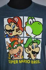 Super Mario Bros Brothers Luigi Mario Yoshi Bowser Blue Mens  2XL XXL T-Shirt