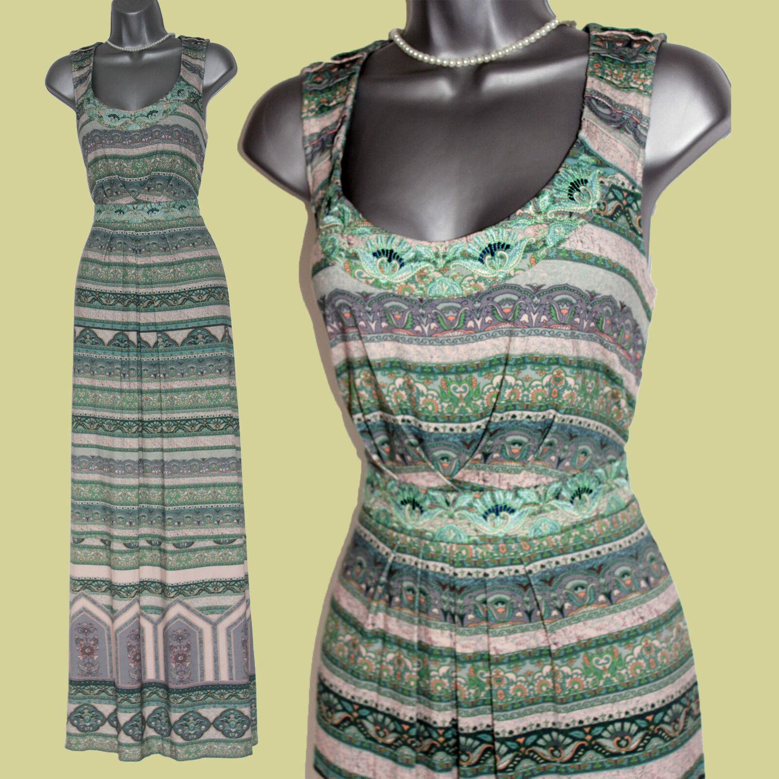 MONSOON Grün Print Embroiderot Neck Waist Casual Party Maxi Dress  UK12  EU40