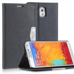 Livre-Coque-Pour-Samsung-Galaxy-Note-3-Anthracite-Noir-Avec-Fermeture-Magnetique