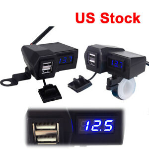 Waterproof Cell Phone USB Charger Voltmeter For Yamaha VStar 1100 Classic Custom