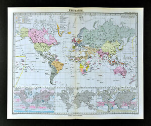 Map Of Africa Europe.1892 Stieler Map World Africa Europe Asia Australia North South