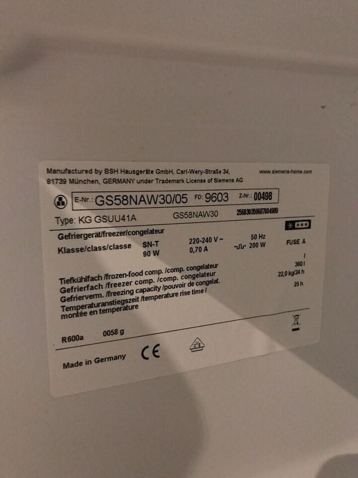 Fryseskab, Siemens GS58NAW30, 360 liter