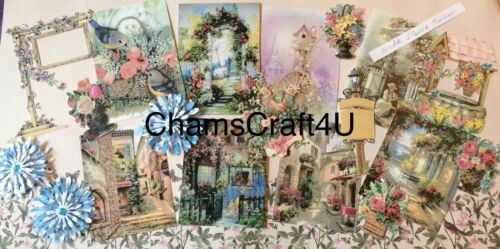 Craft clearout mix bundle Joblot flower garden card toppers paper die cuts