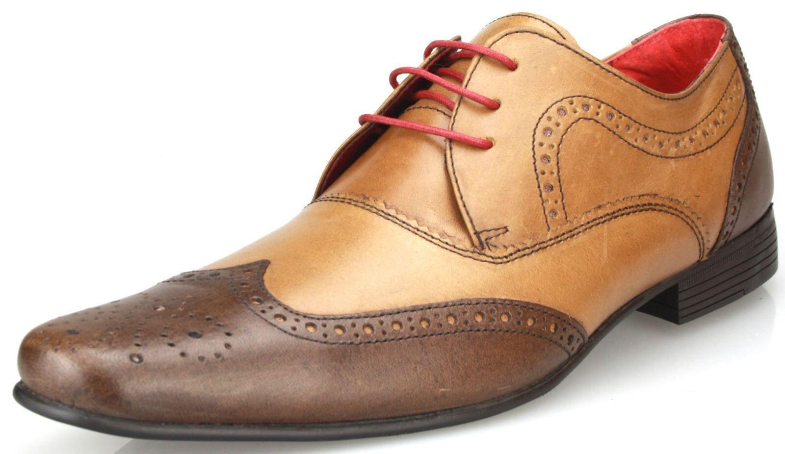 Red Tape Elrick 2 hellbraun Halbschuhe zum Schnüren Zweiton Leder Herren Schuhe