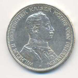 Germany German States Prussia Wilhelm II Silver 3 Mark 1914 A XF