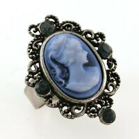 Antique Silver Vintage St Cameo Ring Blue Stone Crystal Stone Lady Size Free B5