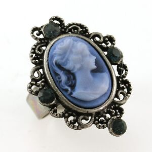 Antique silver vintage st cameo ring blue stone crystal stone lady image is loading antique silver vintage st cameo ring blue stone aloadofball Choice Image