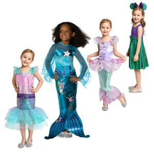 Girls Little Mermaid Ariel Princess Dress Cosplay Costumes For Children Clothing