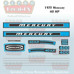 1975 Mercury 150 HP Outboard Reproduction  25 Piece Marine Vinyl Decals 1500