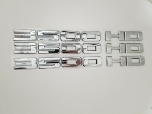 3pC CHROME 3500HD FIT GMC Door LEFT RIGHT EMBLEM NAMEPLATE BADGE NAME 3500 HD