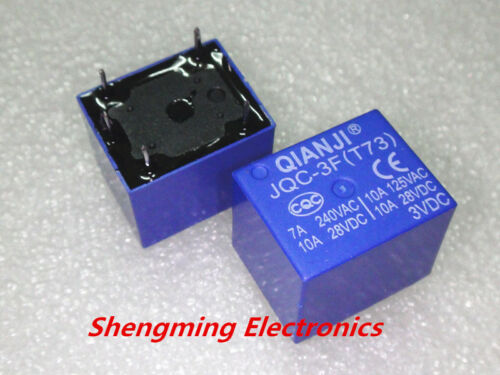 T73 Mini SPDT Power Relay 3VDC PCB Type 5pins 10PCS 3V Relays JQC-3F