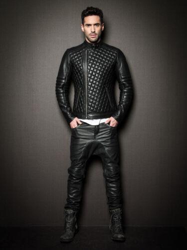 hombre real acolchada genuina cuero para 46 cordero de 100 piel de Nueva motocicleta chaqueta de motociclista 7qXwRE