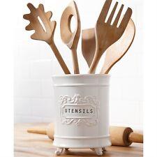 Mud Pie Circa Ceramic Utensil Holder for Kitchen Footed
