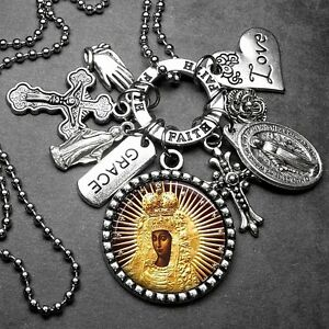 Black Madonna w/ Crown & Stars Picture Pendant Holy Medal & Multi Charm Necklace