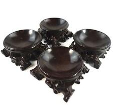 FOUR CHINESE CARVED ROOT WOOD STANDS OR BOWLS VINTAGE OR ANTIQUE