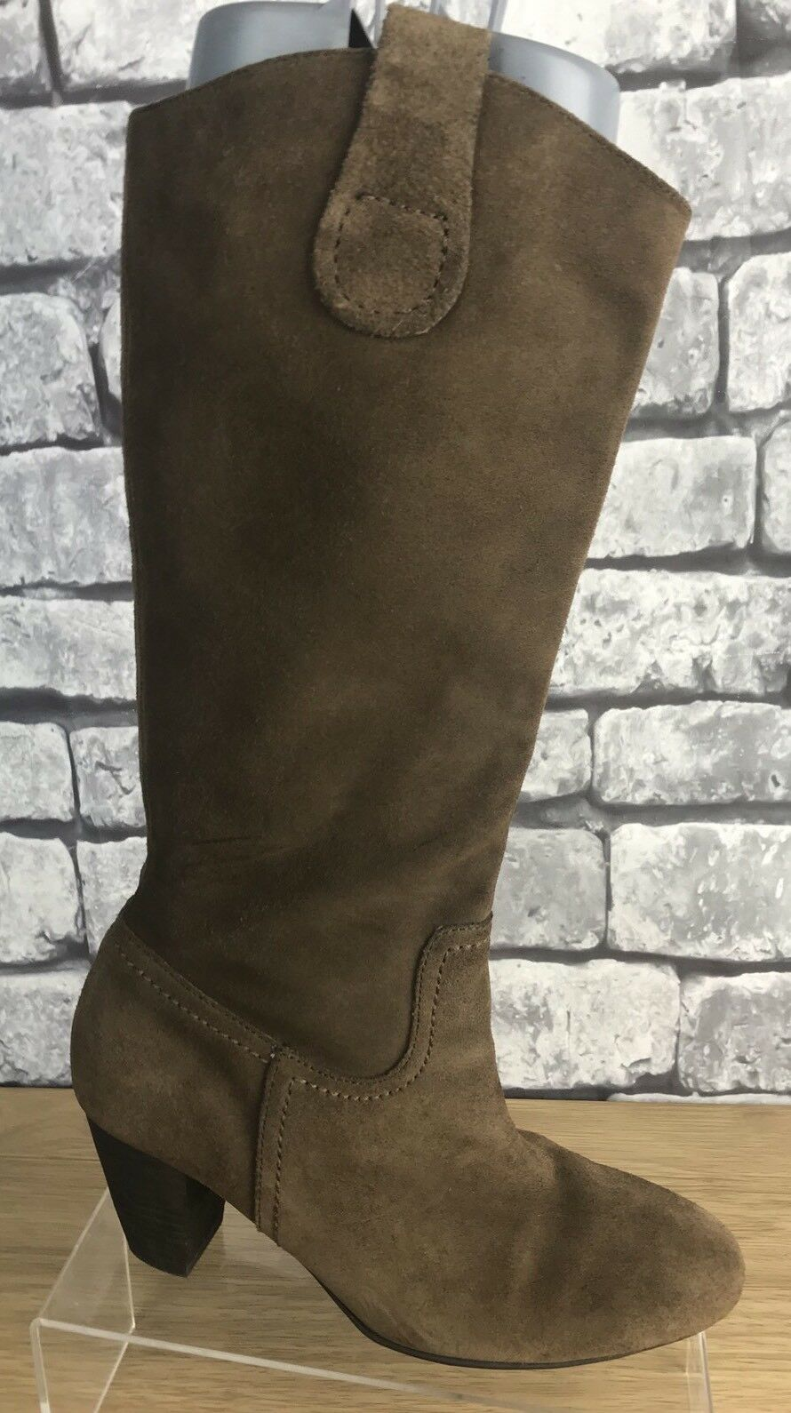 Ecco Ladies Suede Knee High Boots Pull On