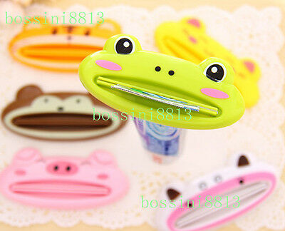 2PCS Cute Animal Toothpaste Dispenser Tube Rolling Holder Squeezer Easy Cartoon